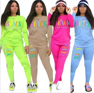 Women Black Girls Magic Letters Printed Tracksuit Long Sleeve Tops Tee+Leggings Pants 2pcs Sets Clothing Casual Sportswear Outfits E101505