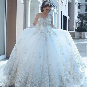 Бальное платье Милая Свадебные платья дешевые кружева аппликация Кристалл 2020 Новая африканская страна Bohemian Свадебные платья Дешевые Свадебные платья Beads