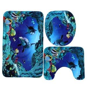 3 PZ / Set 50 * 80 * 0.8 cm Bagno Flanella antiscivolo subacqueo World World Blue Shark Pedestal Tappeto + coperchio coperchio della toilette + BA Qylrhn Garden2010