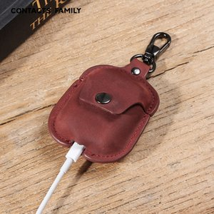 Retro Wireless Bluetooth Headset Protective Case Protector Leather Keyring Convenience AirPods Protector for AirPods 1 2