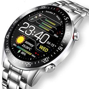 Relojes para hombre inteligente SmartWatch de pantalla táctil completa para el monitor de presión Android iOS ritmo cardíaco sangre impermeable del reloj de diseñador de fitness