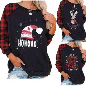 Blouses Plaid overs à capuche pour femmes de renne de Noël Père Noël Chapeau Joyeux Noël Pyjama Top T-shirt Vêtements de Noël Costume LY11022