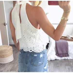 White Embroidery Women Tops and Blouse 2021 Summer Off Shoulder Crop Female Lace up Hollow out Beach Boho Blouse Shirt