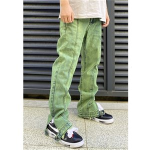 Green New Style Men's Distressed Destroyed Pants White Ripped Patches Skinny Biker Jeans Slim Trousers 2020ss