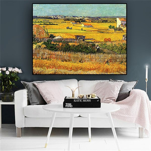 Harvest At La Crau By Van Gogh Landscape Oil Painting Classical Art Posters and Prints Abstract Wall Art Picture for Living Room Home Decor