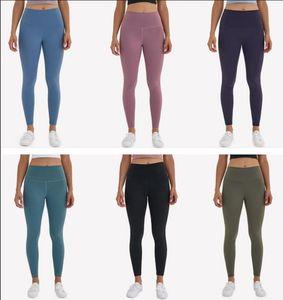 L-32 сплошного цвета высокой талией Леггинсы Йога центр Одежда Женщины Бег Фитнес Йога Брюки Полная длина Общая Trouses тренировки легинсы