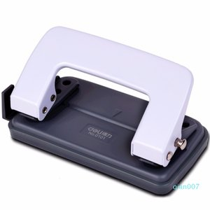 Double Hole Puncher White Blue 12mm Deli depth Hand Paper Iron Metal Normal Style Punch School Office