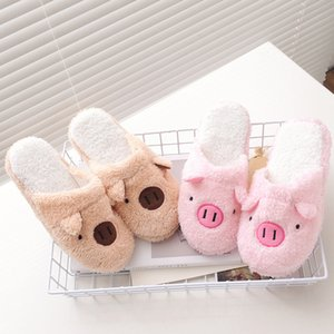 Hot Sale-New Slipper hiver de femme Accueil Chaussures pour femmes Chinelos Pantufas Adulto Mode Lovely Bear Pig Maison Intérieur Chaussons avec fourrure
