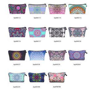 Bohemia Mandala Floral 3D Print Cosmetic Bags Women Travel Makeup Case Women Handbag Zipper Cosmetic Bag Flower Printed Bag 15 colors