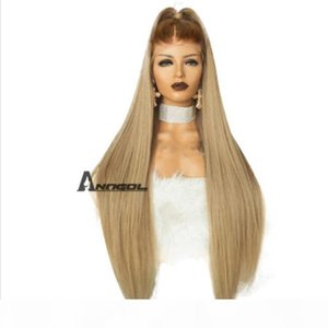 Anogol Synthetic Lace Front Wig Blonde Peluca Long Straight Ombre Wigs para mujeres
