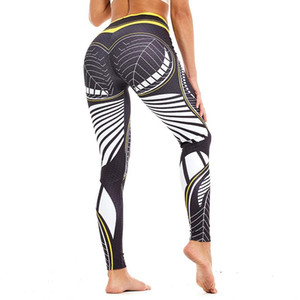 Yoga de la aptitud de las polainas de cintura alta Gimnasio Leggings Yoga Pantalones pantalones de colores impresa digital de alta elástica transpirable