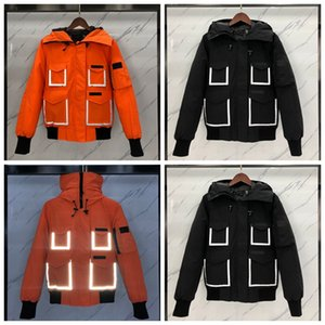 20FW European Joint Reflective Strip Down Jacket Embroidery Animal Short Down Winter Coats Fashion High Street Couple Women Mens Jackets