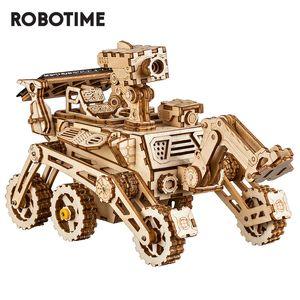 Robotime ROKR DIY Energia Solar Blocos de Madeira Brinquedos Modelo Kit de Construção Espaço Caça Brinquedos Para Crianças Crianças C0119