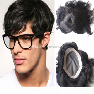 Men Toupee Fashion Lace Base with Thin Skin 1B Indian Straight Hair 6inch Short Men Toupees Free Shipping