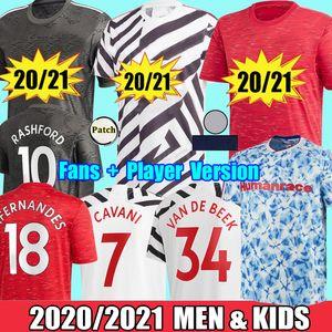 2021 Manchester Fans Player Rashford CAVANI Van De Beek Fernandes Greenwood maglie da calcio united utd maglie da calcio uomo kit per bambini uniformi