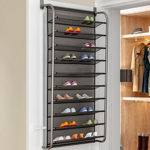 Fast 36 Pair Shoe Space Door Hanging Organizer Wall Mounted Shoe Hanging Shelf Organizer Rack Wall Bag Storage Closet Holder 201110