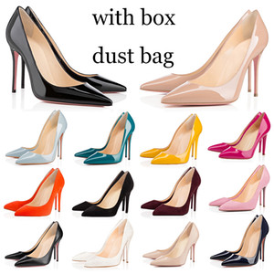 with box dust bag red bottoms high heels bottom fashion women dress shoes vintage wedding triple black pointed peep toes pumps spikes Dress