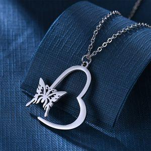 Edelstahl Herz Schmetterling Kettenanhänger Hohle Schmetterling Anhänger für Frauen Modeschmuck wird und Sand Geschenk