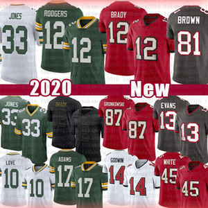 Tom Brady 12 Aaron Rodgers Jones Football Jersey 81 Antonio Brown Rob Gronkowski Mike Evans Chris Godwin Weiß Davante Adams Liebe Savage Jr