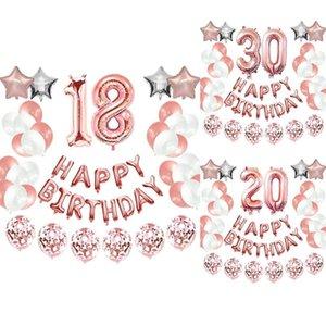 Feliz aniversário decorações kit - feliz aniversário balão banner, número balão mylar folha, ouro rosa
