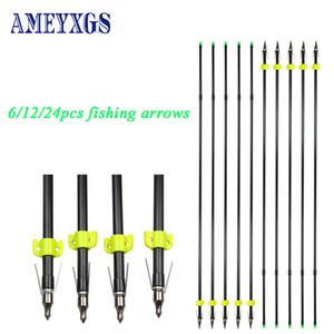 6/12 / 24pcs Tiro con arco de pesca Flecha de fibra de vidrio OD 8mm con 100Grain Shooting Fish Arrowhead Accesorios de pesca de arco al aire libre 201110