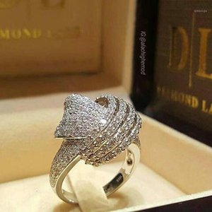 Anelli cluster chic delicato bling cristallo unico modello di imitazione modello classico anello classico per le donne wedding gioielli da sposa cuore bijoux Z4x8861