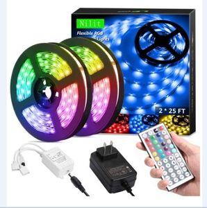 free ship LED Strip Lights RGB 16.4Ft 5M SMD 5050 DC 12V Flexible led strips lights 50LED meter 16Different Static Colors with remote