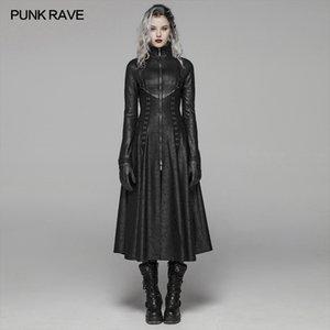 Punk Rave kadın Karanlık Punk Ön Fermuar Standı Yaka Maxi Palto Goth Sahne Performansı Cosplay Bayan Siper Uzun Katlar 1031