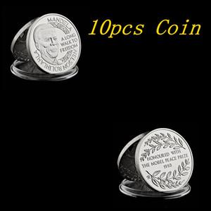 10pcs 1993 Nobel Peace Prize Winner South Africa President Nelson Mandela Silver World Celebrity Commemorative Coin Collection