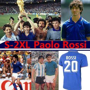 Paolo Rossi Maglia 1982 الرجعية لكرة القدم الفانيلة ITA Camisetaly World Cup 190 94 96 98 2000 2006 Mailleot R.Baggio Totti Pirlo Football Commir