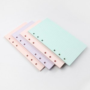 새로운 5 색 A6 느슨한 잎 단색 노트북 리필 나선형 바인더 색인 페이지 플래너 의제 필러 논문 노트북 액세서리 DHF2488