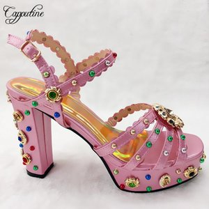 2020 New Summer Rhinestone High Heels Ladies Shoes European Style Fashion Pretty Rivet Shoes For Party Dress 8Colors On Stock