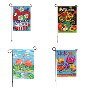 Flamingo Flag Sublimation Garden Flags Sunflower Bird Pumpkin Watering Can Pinecones Grassland Welcome Waterproof Printing 6 2ex F2