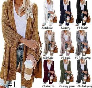 Kadınlar Hırka Triko Triko Örme Ceket Casual eskitmek Ceket Uzun Kollu Ceket Palto Sonbahar Kış Coats Dış Giyim Konfeksiyon KKF1927
