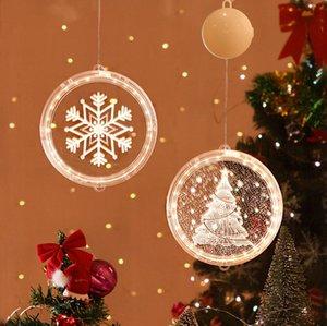 3D Рождество висячего света круглого окно Decortive Снежинка Santa Star Строка Xmas украшение Компоновка Светой партия украшение LJJP654