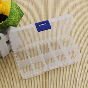 Wholesale-Practical Adjustable Plastic 10 Compartment Storage Box Case Bead Rings Jewelry Display Organizer Container ToolBox 65*130*2 jepe#