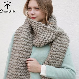 Dress U Up New Solid Color Thick Wool Scarf Female Autumn and Winter Thick Knit Scarf Women Handmade Scarves 201026