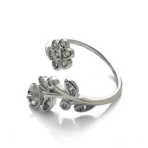 Seulement 1 pièce Constatations de bijoux Bague Semi Mount 925 Sterling Argent Sterling Floral Bricolage Bague vierge