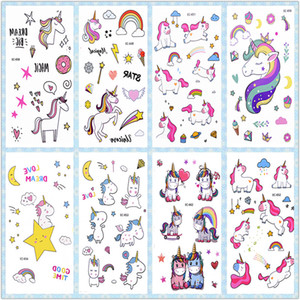 3Pcs Rainbow Tattoo Sticker Kids Birthday Decorations Stickers Temporary Tattoos Unicorn Party Supplies