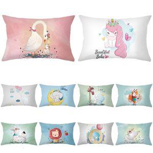 2020 Peach Fur Pillow Cartoon Case Animal Series Printed Waist Pillow Case Home Pillow Case