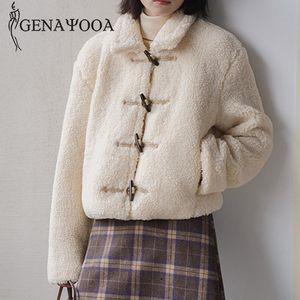 Genayooa Long Sleeve Jacket Ladies Warm Casual Woman Winter Coats And Jackets Short Single Breasted Coat Femme Korean Fashion
