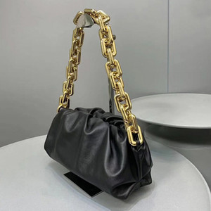 Kadınlar için 2020 Yeni Marka Yumuşak Gerçek Deri Bayan Kılıfı Çanta ile Big Metal Zinciri Messenger El Çantası newbag555 hualonglin brandbags1990