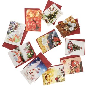 10 Sets Merry Christmas Invitation Card With Envelopes Wishing Card Favors