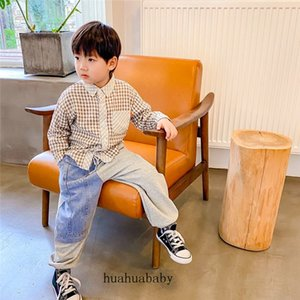2021New Style Casual Trousers For Kid Stitching Cowboy Creativity Child Sweatpants Loose 2 Color Splice Long Boy Baggy Pants