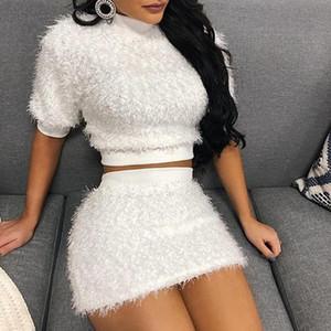 2020 Short Sleeve Bag Plush Tute Fluffy delle donne Hip sexy vestito a due pezzi gonna corta Nuovo arrivo piuma vestito di sport