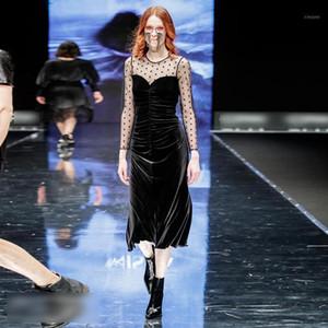 Runway Designer Spring New Women'S Fashion Vintage Elegant Mesh Polka Dot Long Sleeve Stitching Velvet Party Casual Midi Dress1