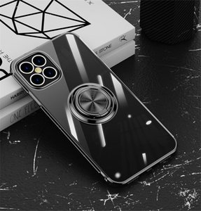 Clear Ring Stand Holder Case For iPhone 12 Pro Max Magnet Adsorption Case For iPhone 11 7 8 6s Plus X XR Xs Max TPU Silicone Cover