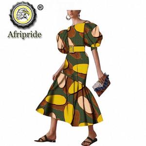 Afrique Robes d'impression pour les femmes pour soirée de mariage Tenues Soirée Wax Attre Dashiki Chemise à manches courtes Robe AFRIPRIDE S1925100 sSUT #