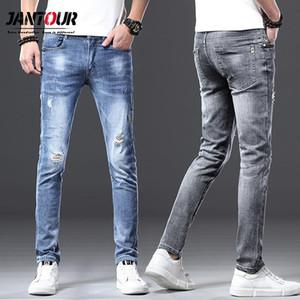 Мужские джинсы Jantour 2021 марка высочайшего качества длинные полные брюки мужские хлопчатобумажные тканевые одежды мужские причинные твердые синие Гэри штаны мужские