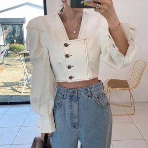 Рубашки женские блузки [EWQ] Мода повседневная шикарная белая рубашка для женщин кнопка стильный с длинным рукавом короткая блузка в корейский стиль официальный леди